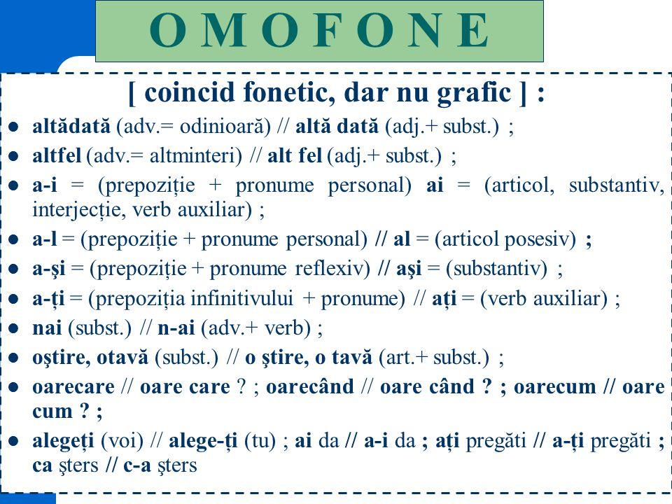 [ coincid fonetic, dar nu grafic ] :